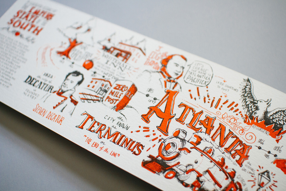 Detail of the Neenah Paper illustrated historical timeline for the city of Atlanta printed promotional marketing design. Hand lettered and hand drawn illustrations by Russell Shaw.