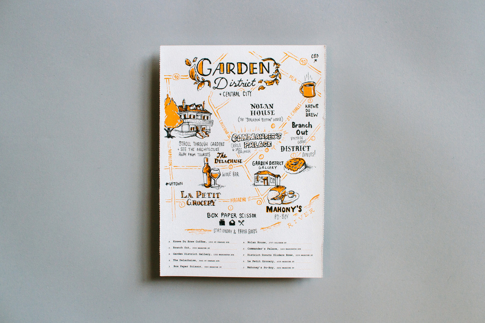Hand lettering and hand drawn typography on the illustrated neighborhood guide to New Orleans Garden District and Central City for AIGA Design Conference 2015. Features the Nolan House, Krewe du Brew, Commander's Palace, Brand Out, La Petit Grocery, Box Paper Scissors, and Mahoney's Po-Boy.