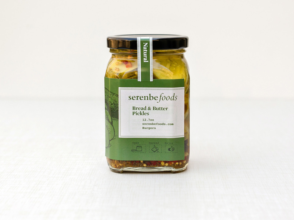 Serenbe Foods bread butter pickles jar label design