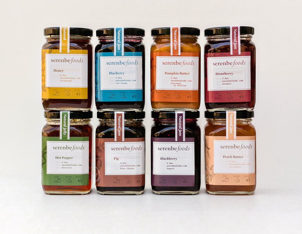 serenbe foods natural jams jelly jar label designs