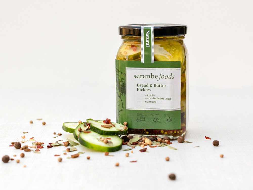 Bread and Buttered Pickles, all natural, packaging and brand design for Serenbe Foods labels and consumer goods.