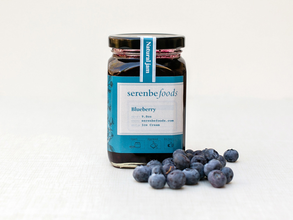 Serenbe Foods blueberry all natural jelly jar and packaging design, logo design and brand identity.