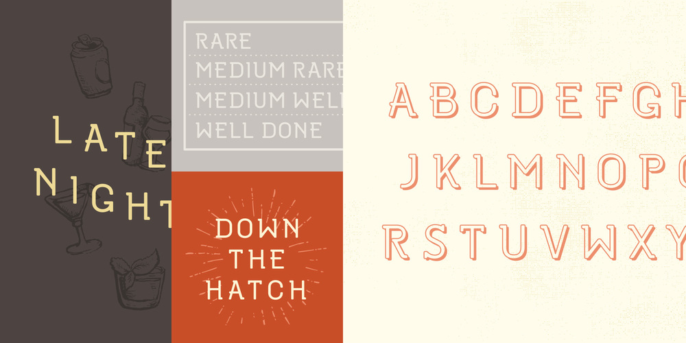 "Sample type specimen for custom font created and designed for the Oakblue Kitchen restaurant. Sample typography reads, ""Late Night, Rare Medium Rare Medium Well and Well Done, Down the Hatch."""
