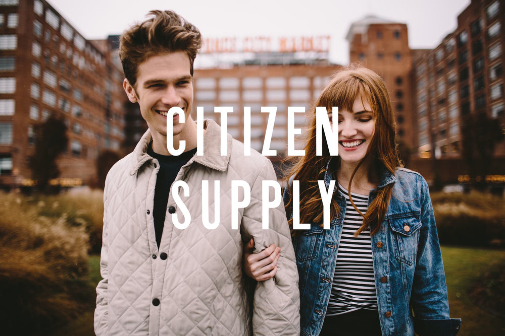 Logo design and branding visual identity for Citizen Supply at Ponce City Market custom typography and lettering overlays a photograph.