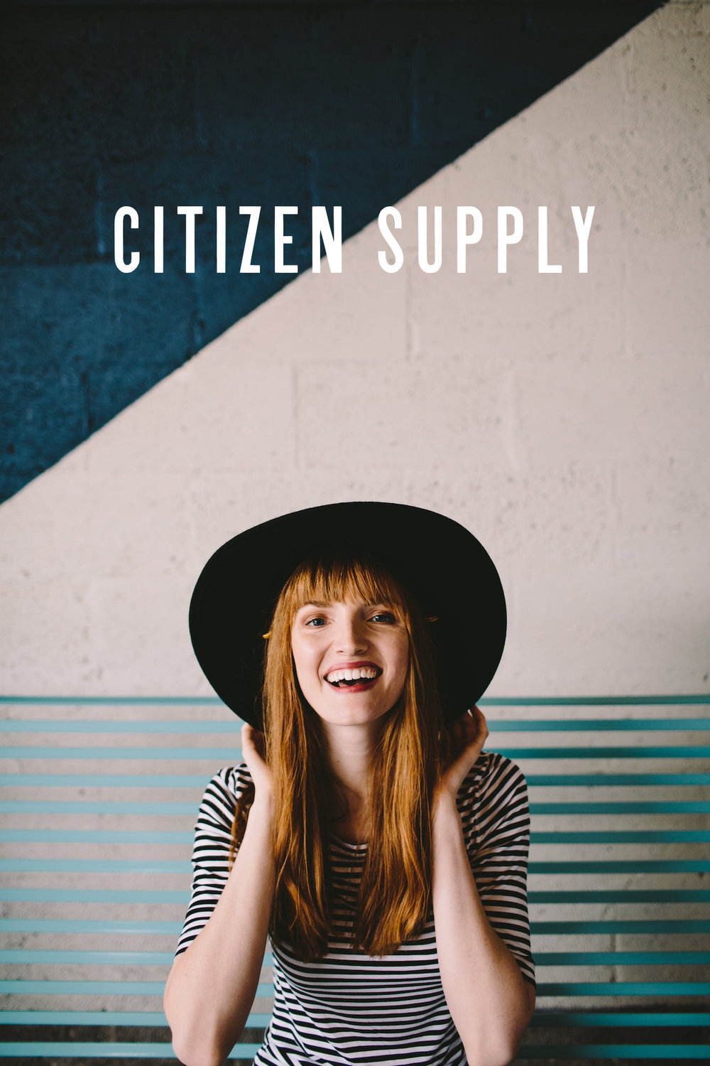 Custom logo design for Citizen Supply retail store brand identity overlays a photograph for the brand.