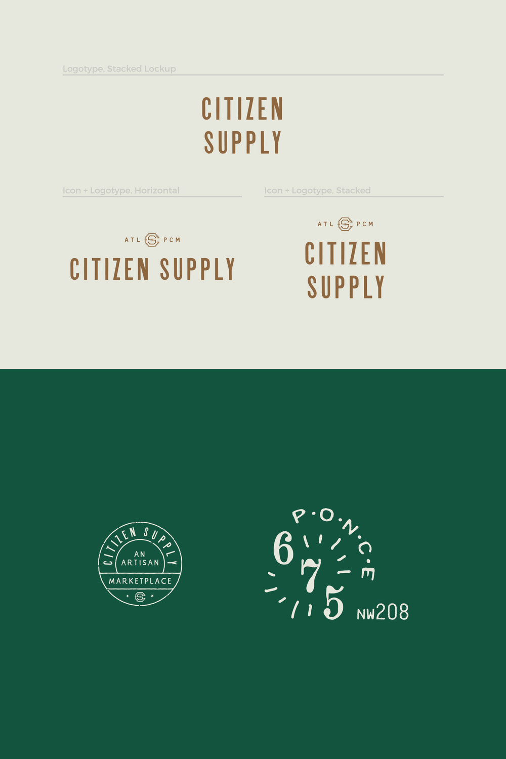 Visual brand identity graphic asset and icons design and style guides for Citizen Supply logo and retail store signage, an artisan marketplace in ponce city market.