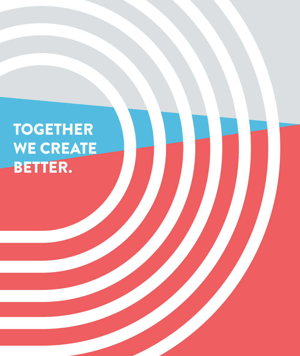 Together we create better tagline for Path by Plywood on a colorful background pattern accompanied by chasing concentric line art.