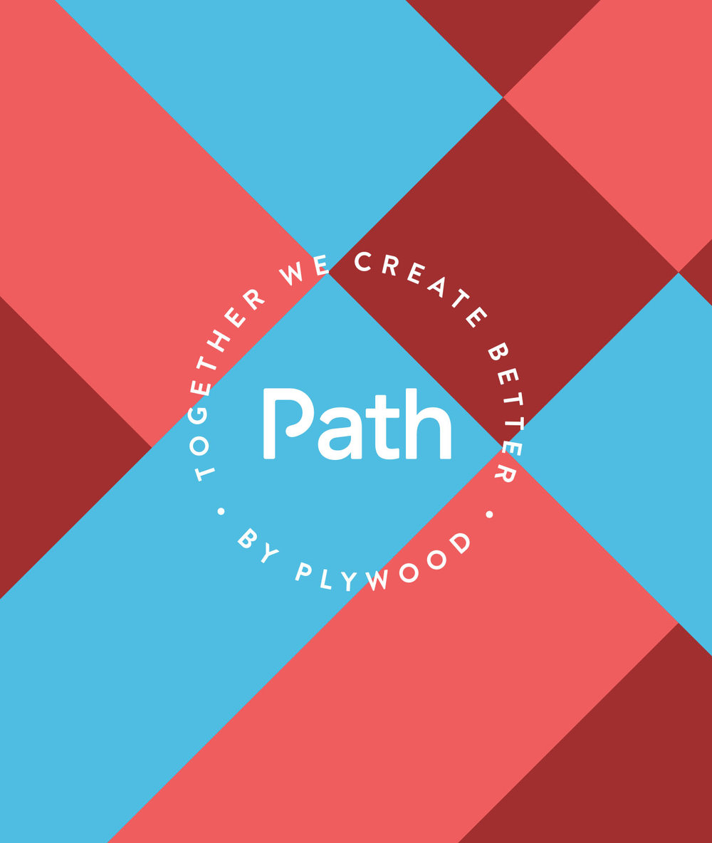 Circular stamp of Path by Plywood Together We Create better logo icon lockup on a colorful pink and blue background pattern.