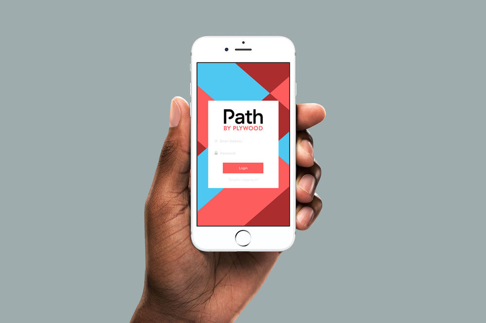 Brand visual identity for Path by Plywood People by graphic designer Russell Shaw shown on an iPhone app homescreen in a user's hand.