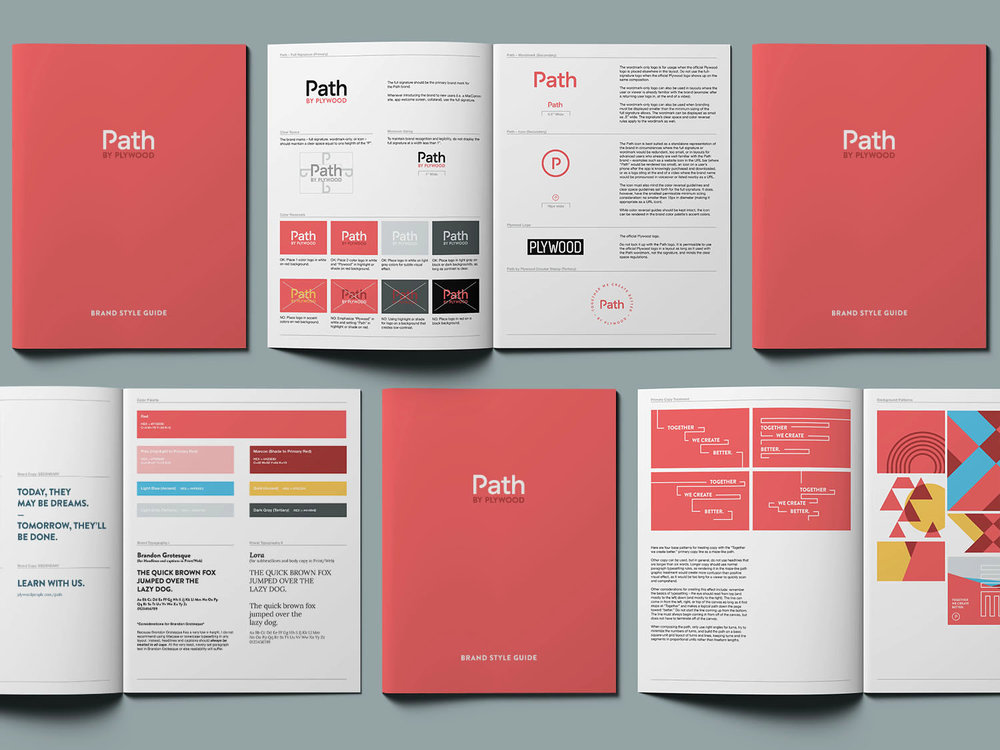 Path by Plywood People brand style guidelines and visual identity system shows the logo design, color palette, typography, graphic treatment and patterns, written and created by Russell Shaw.