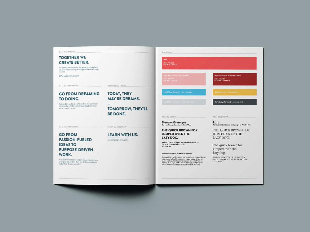 Copywriting and core messages, typography and font choices, and color palette brand style guidelines for Path by Plywood People.