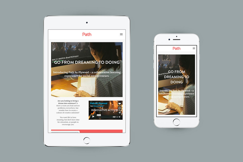 The Path by Plywood People web design was created to be responsive and is shown working on a tablet and a mobile device.