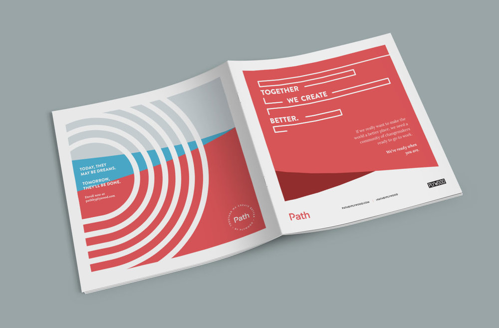 Full cover design front and back of promotional marketing newspaper for Path by Plywood branding and visual identity system.