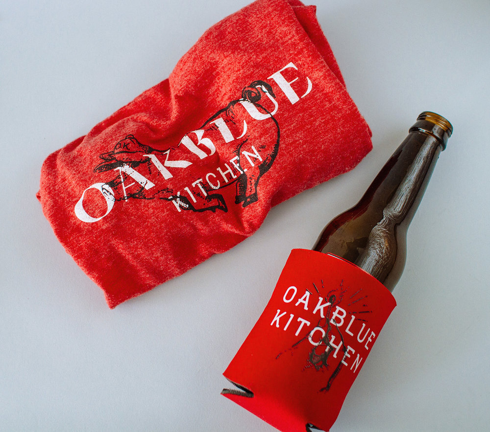 Oakblue Kitchen restaurant t shirt design and beer koozie