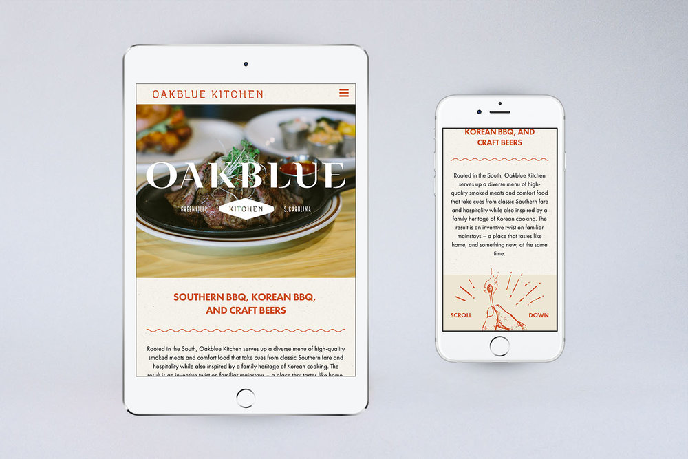 Sample image showing the responsive web design for the Oakblue Kitchen restaurant homepage on a tablet and on a phone.