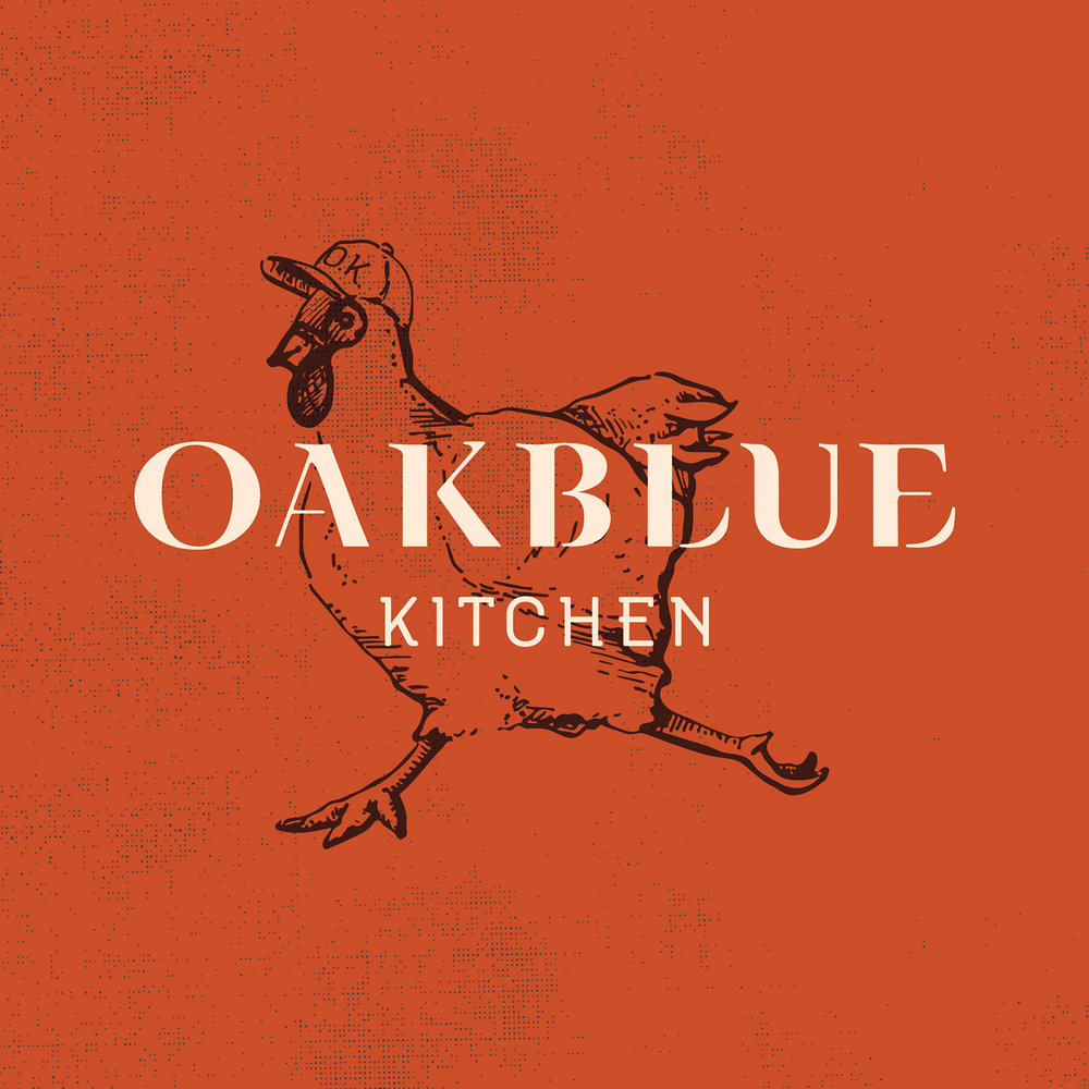 Alternate logo lockup, with the Oakblue Kitchen branding design on layer above the custom chicken illustration, in the red color palette.