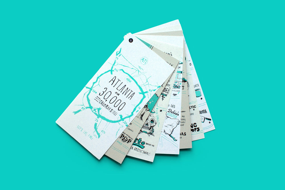 Neenah Paper Future Classic Atlanta neighborhood food maps and city guide hand illustration and lettering
