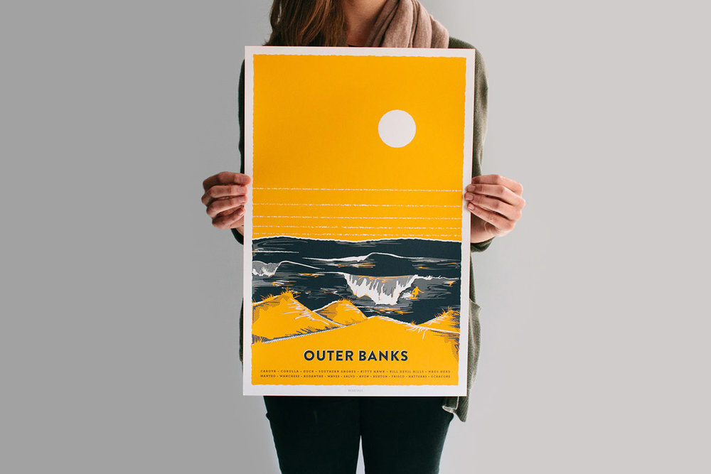 Bearings Guide Outer Banks poster screen-print surfing waves and sand dunes illustration with half tones