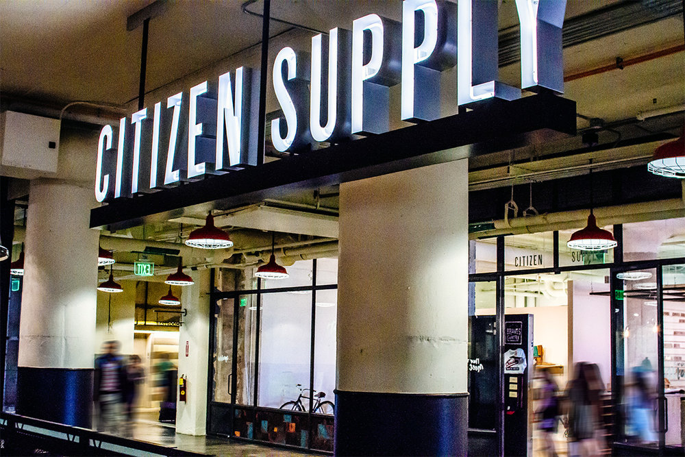 Citizen Supply in Atlanta Ponce City Market logo design and branding graphic design for store and retail sign