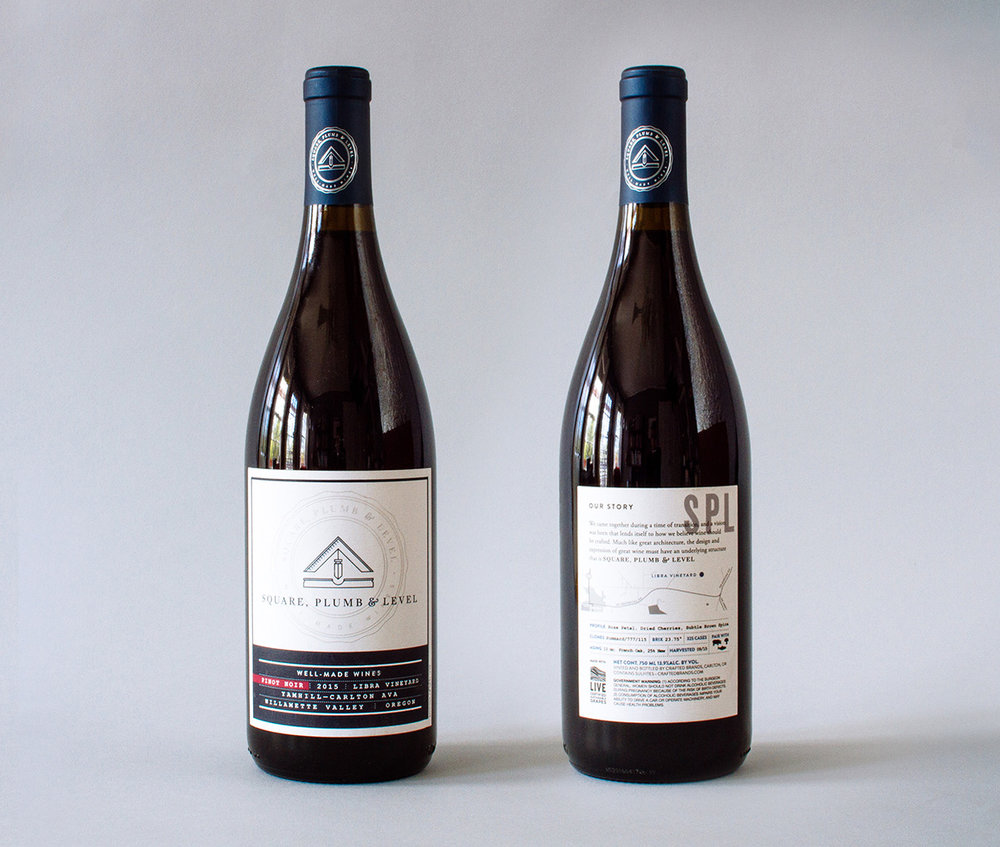 Square Plumb and Level Pinot Noir vintage wine label graphic design and brand identity design.