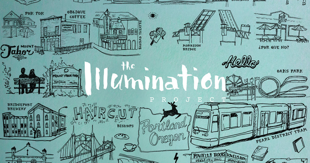 The Illumination Project logo design and branding graphics featuring simple pen and ink illustrations of Portland Oregon by graphic artist Russell Shaw for Love and Respect Now.