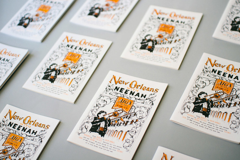 New Orleans neighborhood city maps illustration graphic design and hand lettering for Neenah Paper AIGA Design Conference