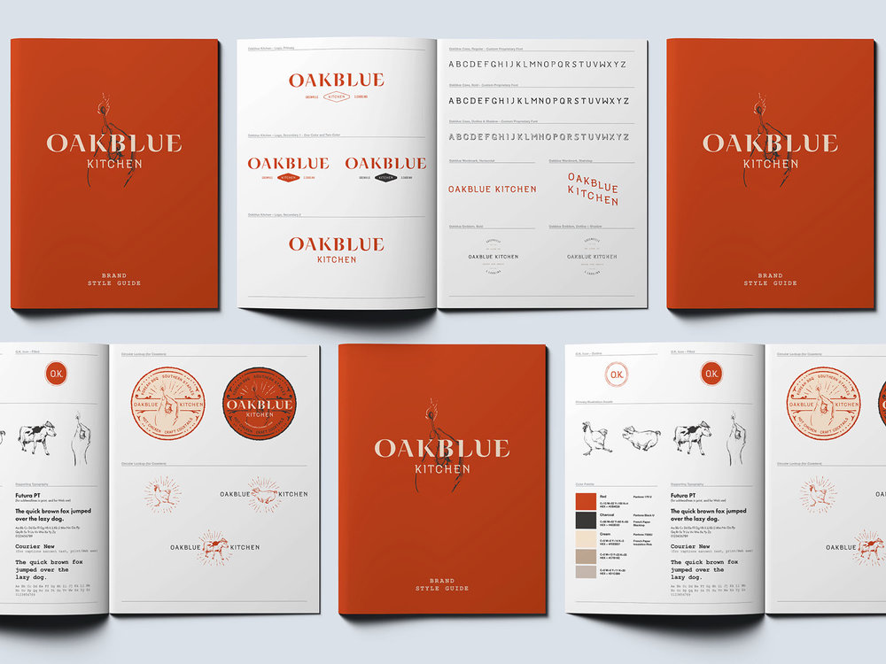 Printed restaurant brand style guide for Oakblue Kitchen features logo use, colors, alternate brand marks and custom font designed and illustrated by freelance artist Russell Shaw.