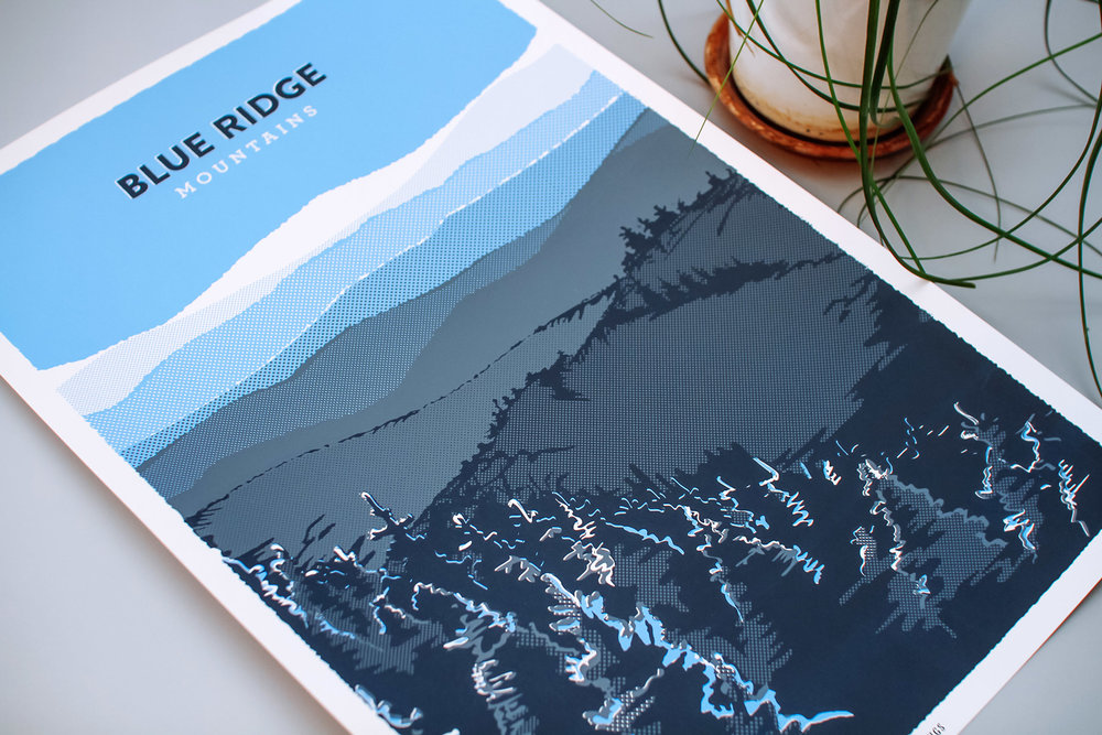 The Blue Ridge Mountains poster graphic design shows rough textured line art and halftone patterns on this three color spot pantone print. The halftones and illustrations use the paper's negative space to create extra dimension.