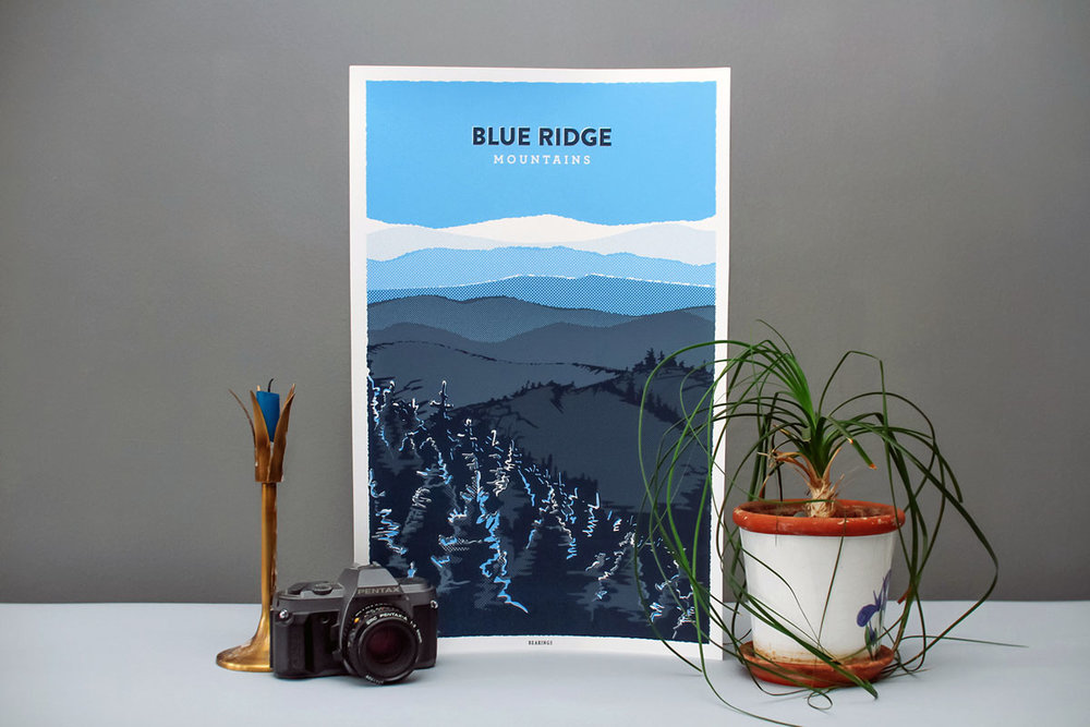 Bearings Guide Blue Ridge Mountains poster screen-print illustration and graphic design Appalachian half tones