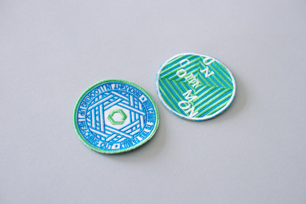 Embroidered patterned badges and patches designed for marketing swag materials and giveaway for Catalyst Conference 2016 event theme Uncommon Fellowship