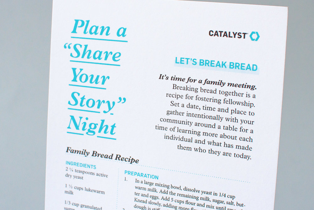Family Bread recipe card encourages viewers to plan a share your story night and get together for a family meeting to break bread together for Catalyst Conference group leader kit promotional materials
