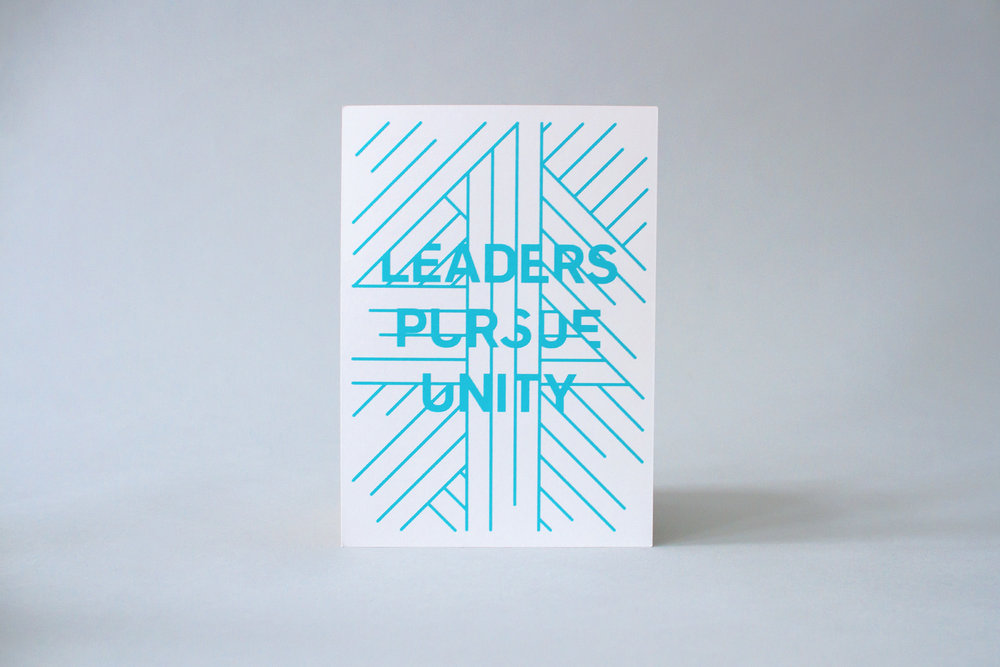 Leaders pursue unity back of recipe card graphic design for catalyst conference uncommon fellowship theme branding.