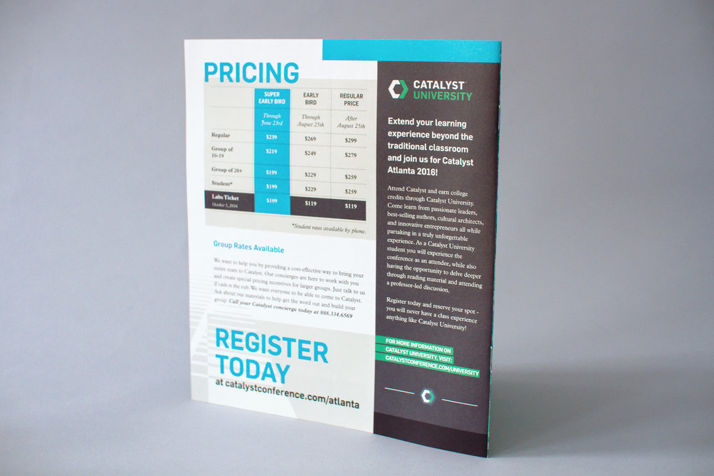 The back of the catalyst conference 2016 uncommon fellowship brochure design shows the pricing information and catalyst university promotion.
