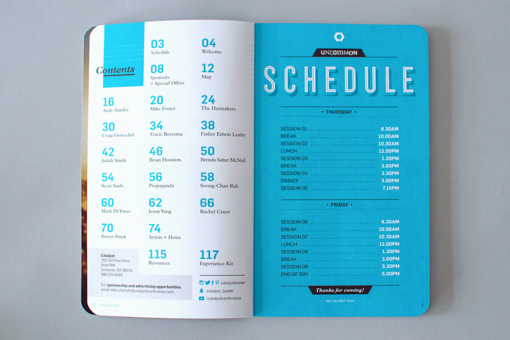 catalyst notezine schedule page design