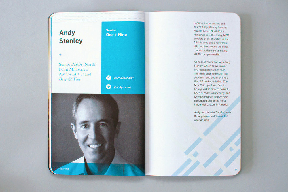 Editorial graphic design of conference notebook features speaker Andy Stanley at Catalyst Conference 2016.