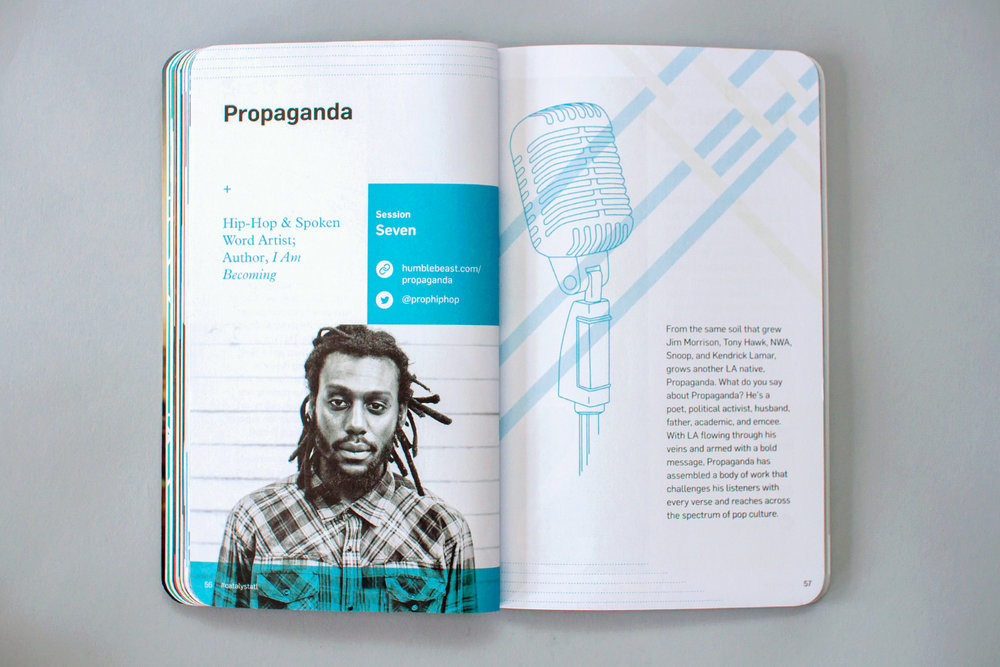 Editorial graphic design of conference notebook features speaker Propaganda spoke word artist at Catalyst Conference 2016.