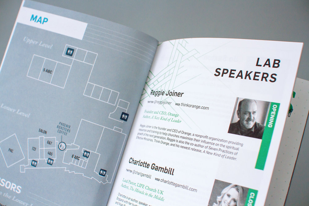 Editorial design listing the catalyst workshop speakers photos and bios in the event notebook.