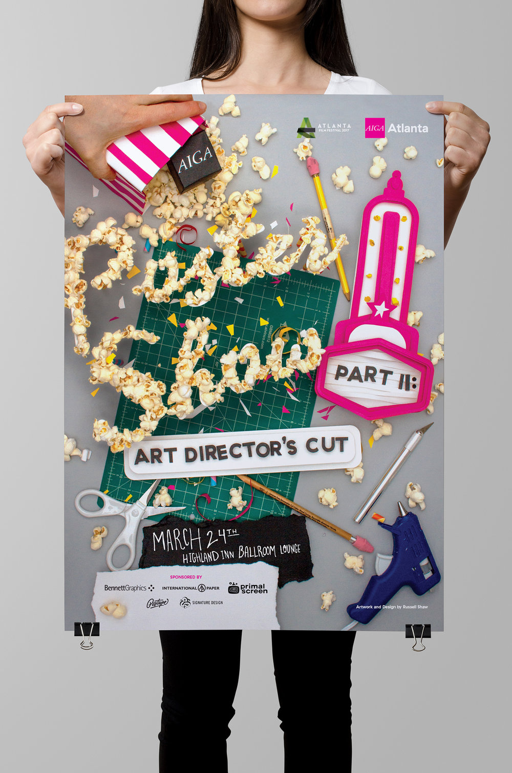 Call for entries and official fundraiser branding for Poster Show Part II: Art Director's Cut shown on a large format poster by graphic artist Russell Shaw for AIGA Atlanta.
