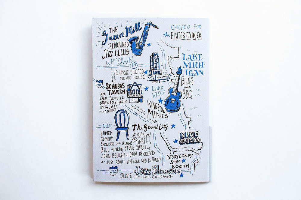Illustrated city guide to chicago, mapping entertainment and music. Features the green mill jazz club, music box, chicago movie house, kingston mines, schubas tavern, the second city, blue chicago, the storycorps story booth, and the jazz showcase.