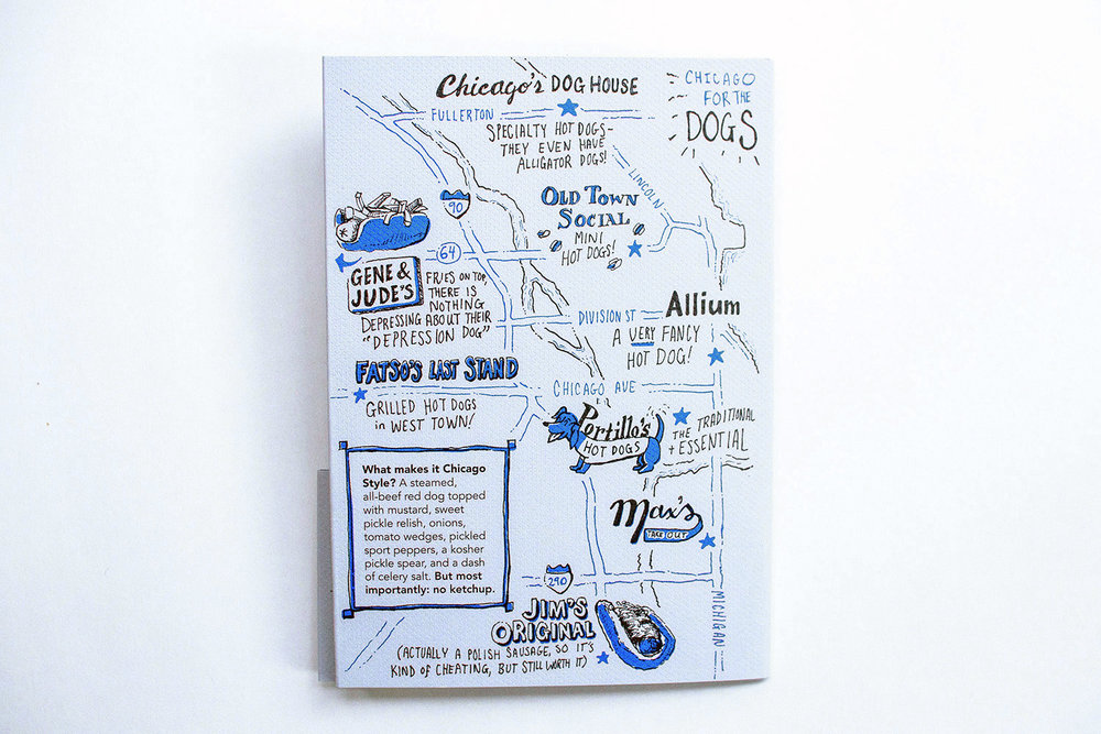 Illustrated map and city guide to Chicago for hot dogs. Explains Chicago-style hot dogs, and features Chicago's Dog House, Old Town Social, Gene and Jude's, Fatso's Last Stand, Portillo's, Max's, Jim's Original and Allium.