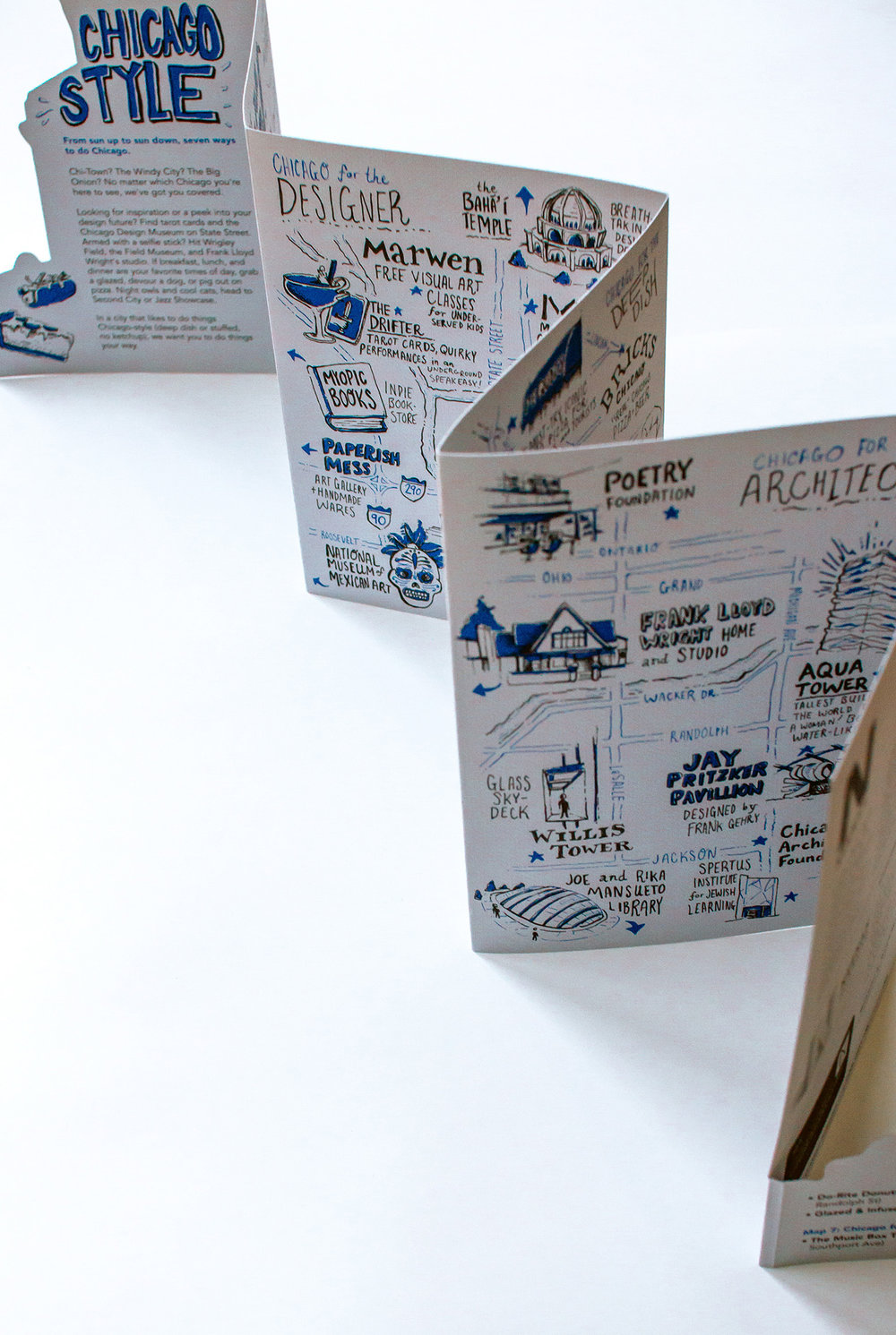 neenah presents chicago, illustrated maps accordion fold