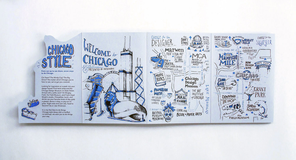 Welcome to Chicago presented by Neenah HOW Design Live conference 2017 neighborhood maps and city guides to the Windy City. Features Chicago for the Designer and Chicago for the sightseer maps.