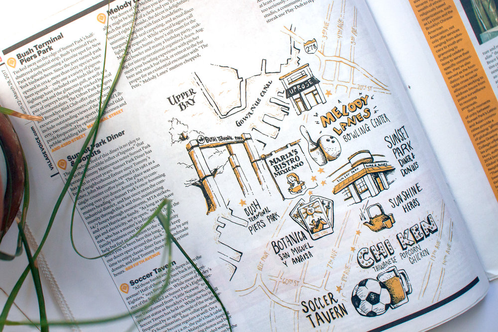 Editorial illustration, hand drawn map of Sunset Park in NYC for the Village Voice, showing places in the neighborhood including Uprose, Melody Lanes, Bush terminal piers park, botanica, chi ken, soccer tavern.