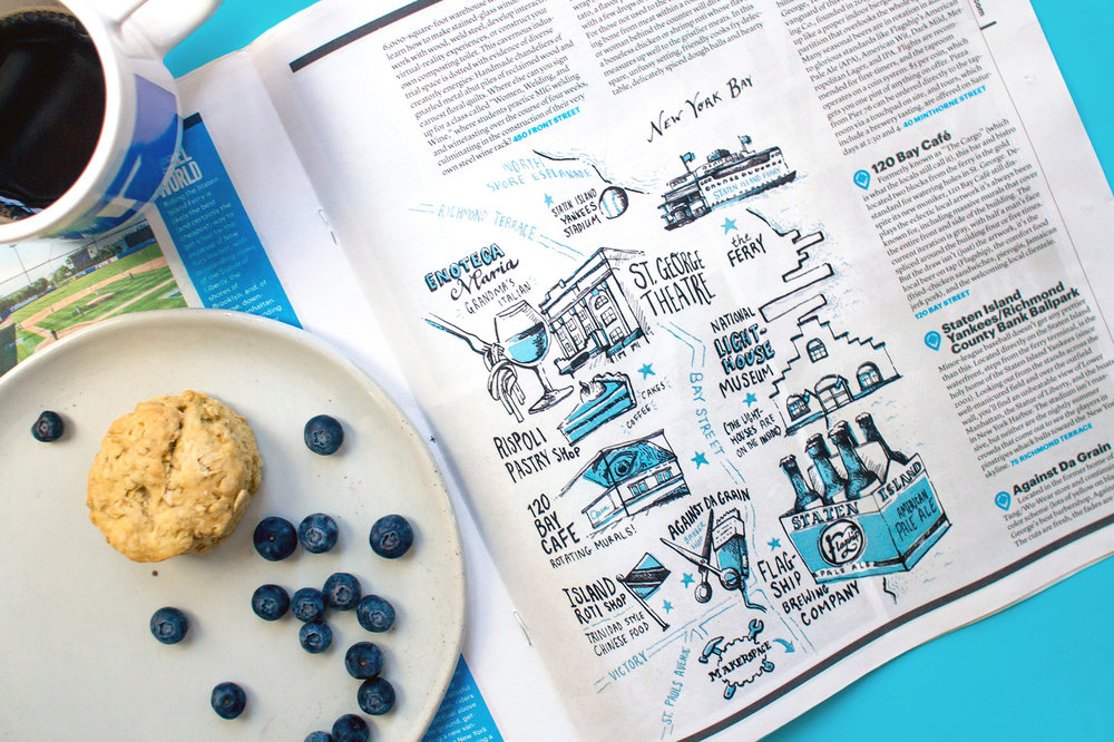 Village Voice New York City NYC neighborhood borough map editorial illustration and design and hand lettering
