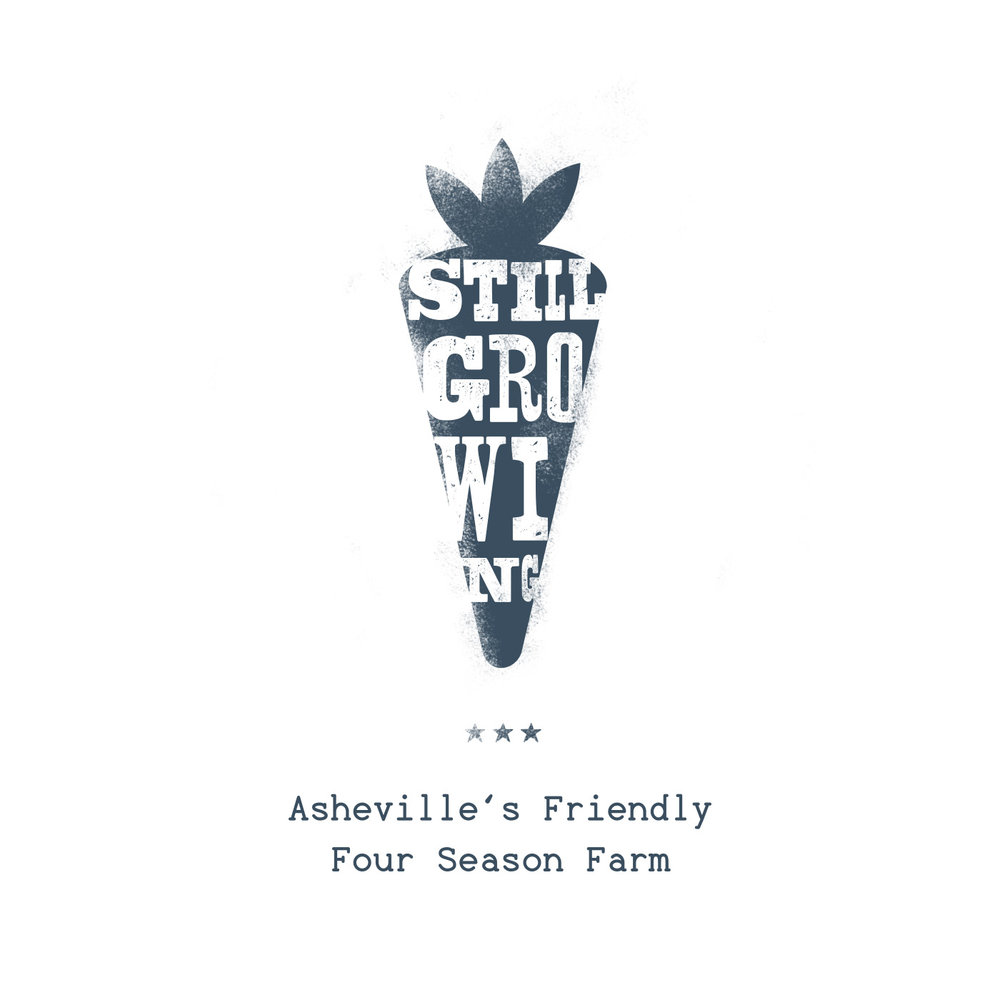 "Wood type block letters and illustration, heavy texturing, of navy carrot, reads ""Still Growing: Asheville's Friendly Four Season Farm,"" for Olivette Farm branding design."