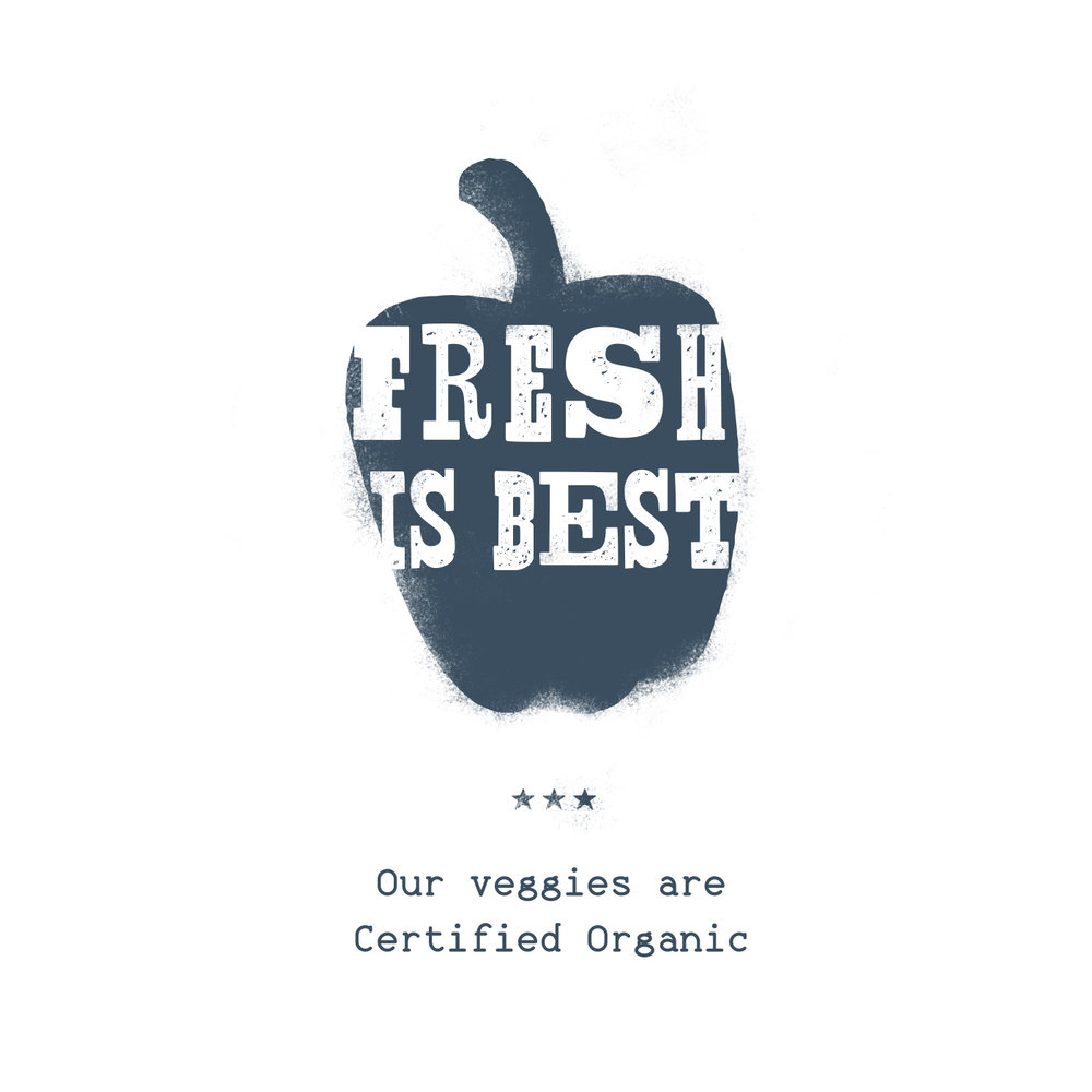 "Wood type block letters and illustration, heavy texturing, of navy bell pepper, reads ""Fresh is Best: Our veggies are certified organic,"" for Olivette Farm branding design."