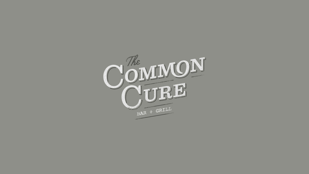 Logo design and restaurant brand identity for The Common Cure bar and grill in Greenville South Carolina by graphic artist Russell Shaw.