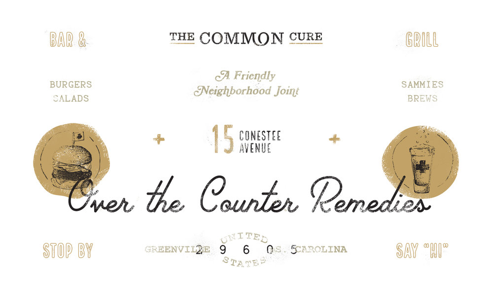 Brand specimen logo design and identity illustrations and elements for the Common Cure restaurant.