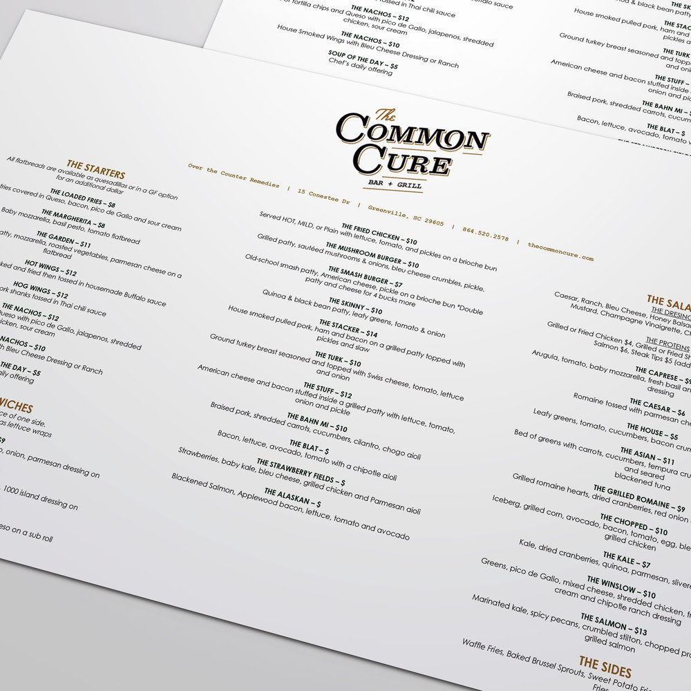 Up close detail of menu design for the common cure bar and grill branding identity.