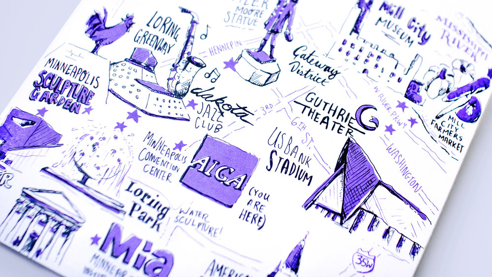 Up close detail of downtown Minneapolis neighborhood map, hand illustrated and drawn for Neenah Paper at the AIGA Design Conference 2017. Focus on Minneapolis Convention Center and Dakota Jazz club.
